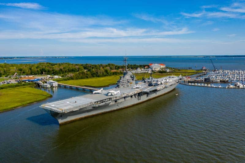 Aerial view of the USS Yorktown in Mt. Pleasant, SC.