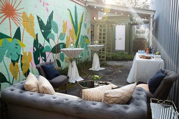 Outdoor lounge at Julia Deckman Studio.