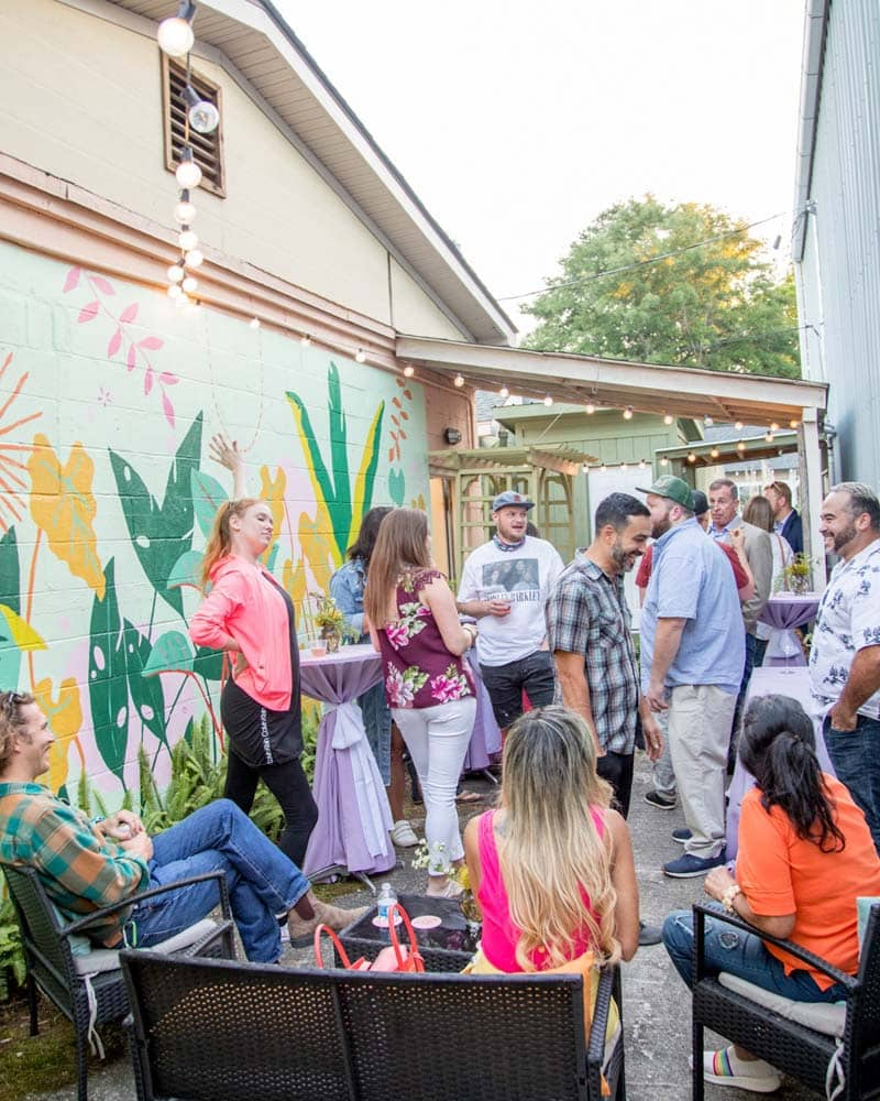 People gathering outside at Julia Deckman Studio.