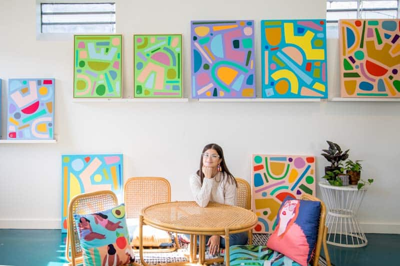 A creative shot of me, Julia Deckman at my studio in Charleston.