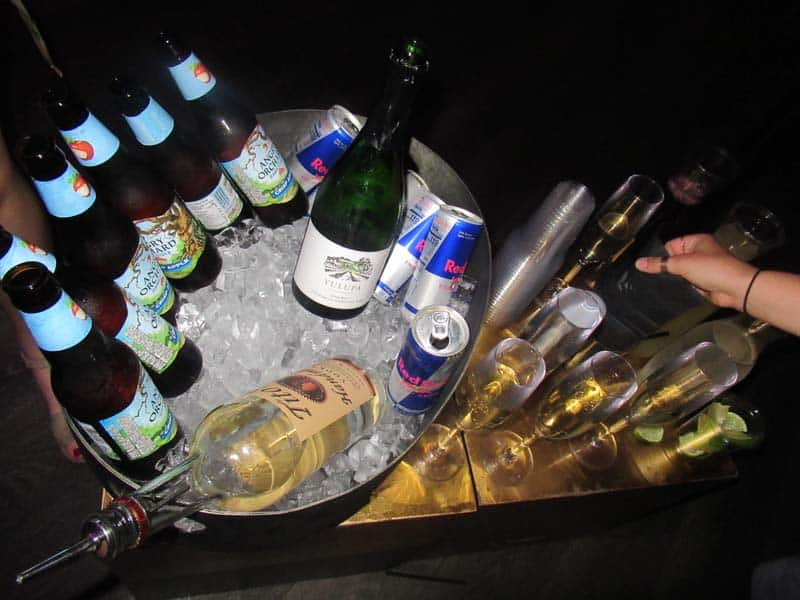 Our drinks with our VIP table side service.
