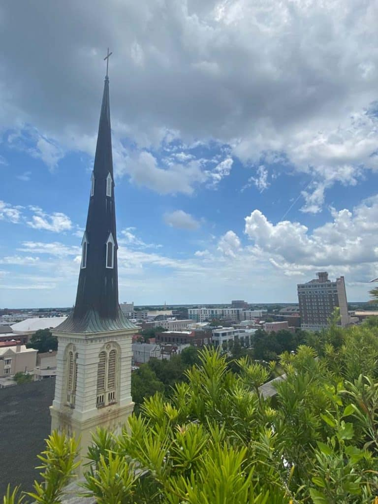 Church steeple and skyline from the rooftop in Charleston, SC.