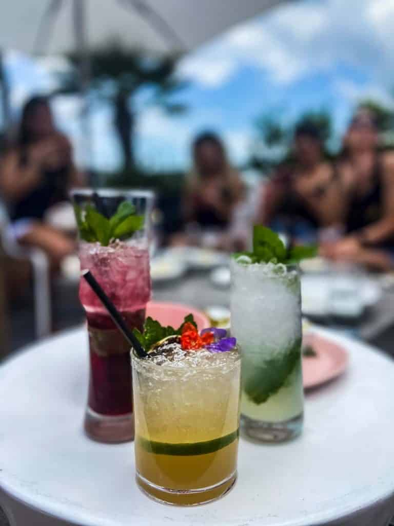 Picture of our drinks of choice at The Rooftop Bar.