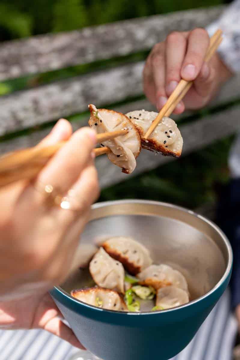 Enjoying some dumplings by Sarah's Dumps based in Charleston, SC.