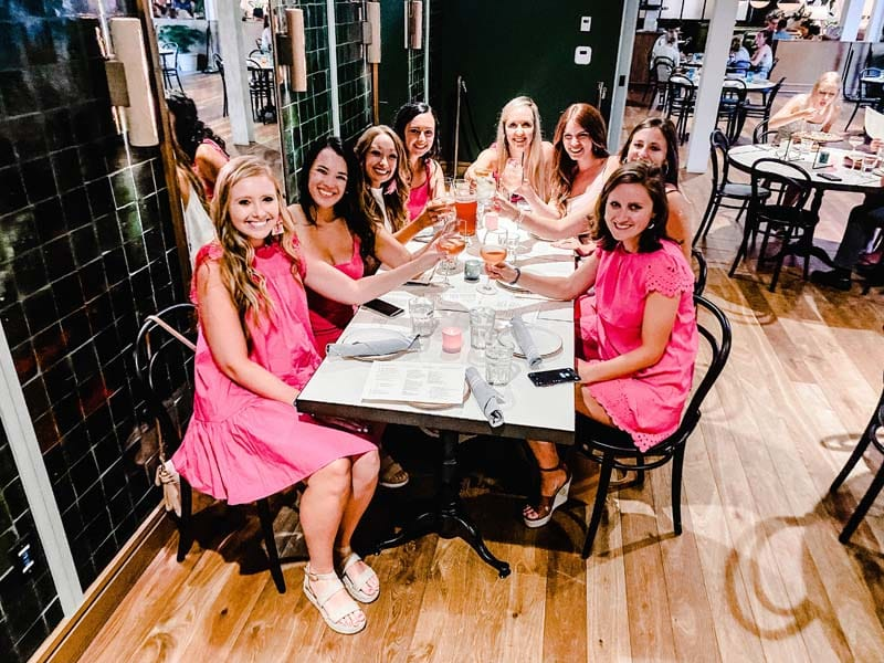 Baley Ligon and friends out to eat at her bach party in Charleston, SC.