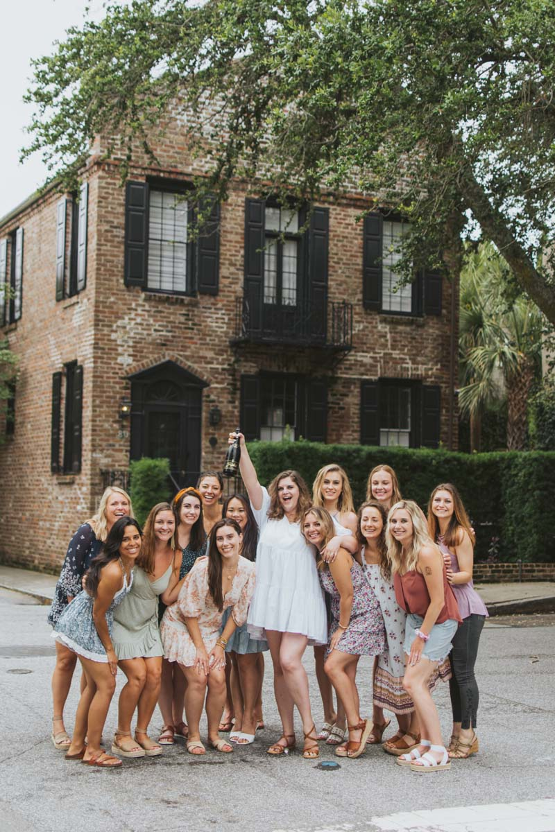 Group of friends gather for a bachelorette party in Charleston — photo by Brie Sciales Photography.