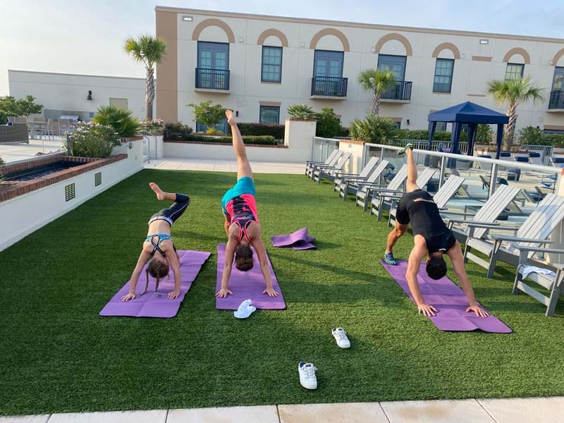 Private yoga session at a hotel in Charleston, SC.