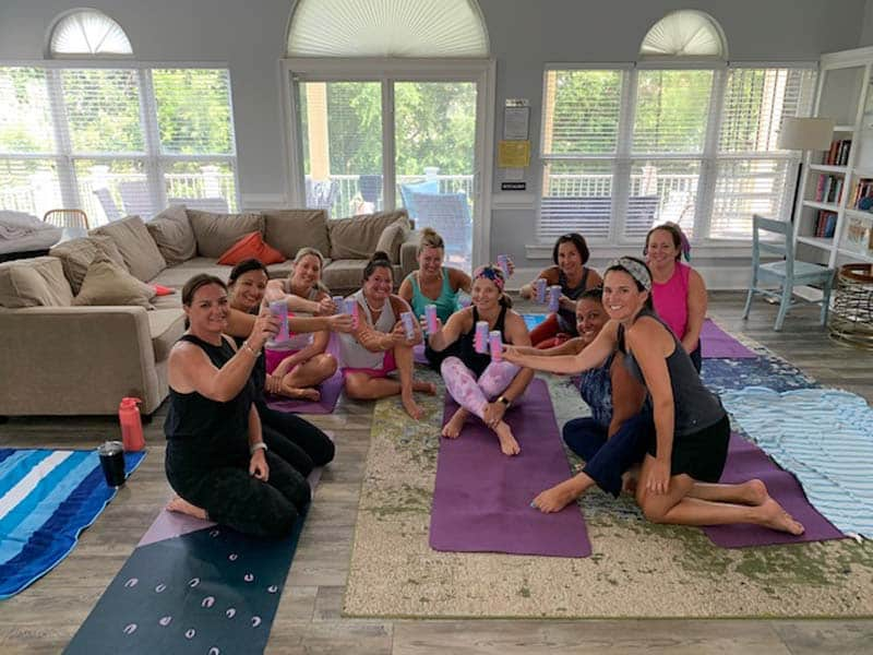 Private yoga class at a vacation rental in Charleston.
