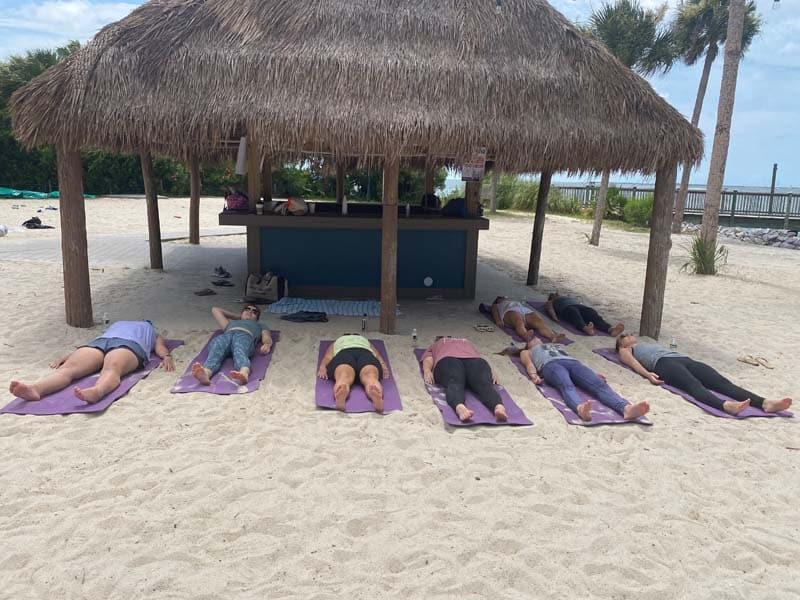 Beach yoga in Charleston area.