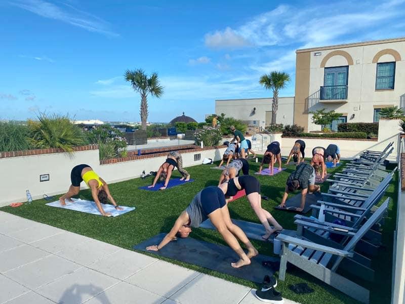 Private yoga class at a hotel in Charleston area.