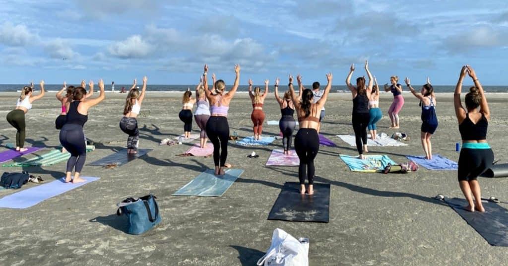 Yoga class at Folly Beach, SC.