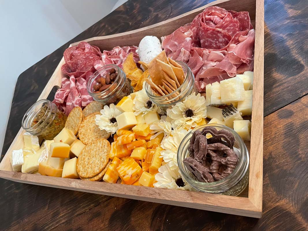 A traditional charcuterie board.