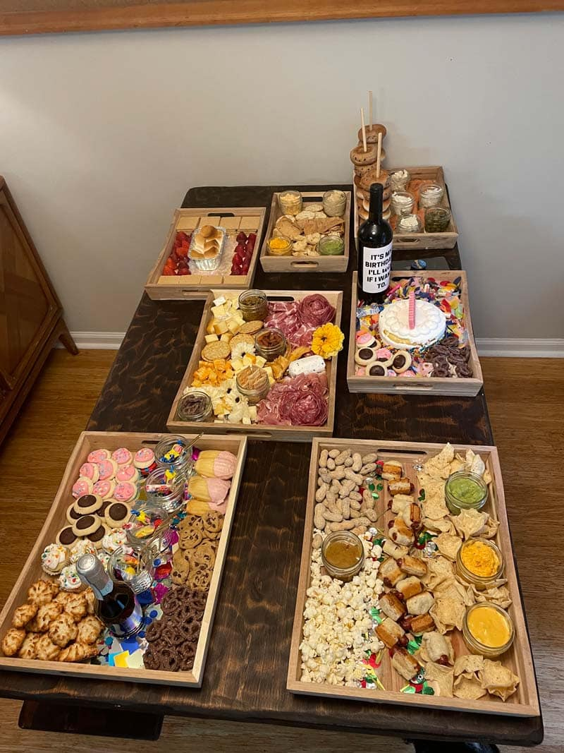 Charcuterie boards and other varieties.