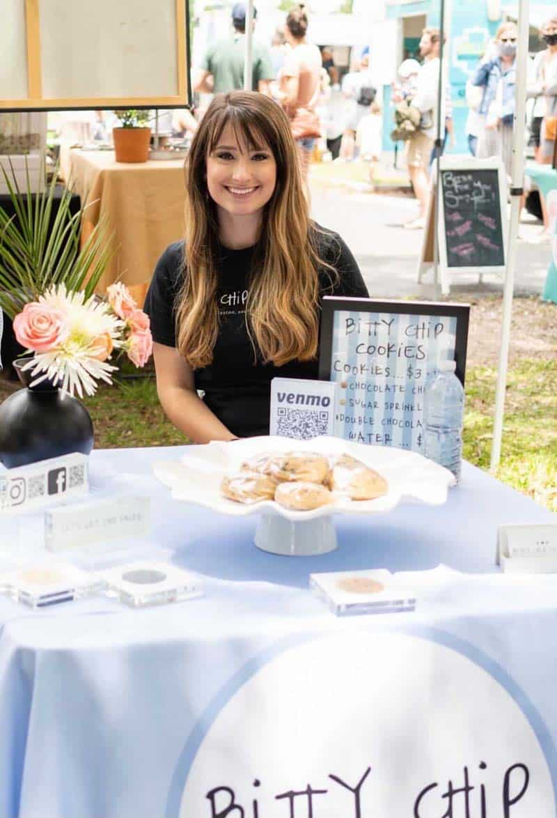 Katie McElveen with her phenomenal cookies on display.