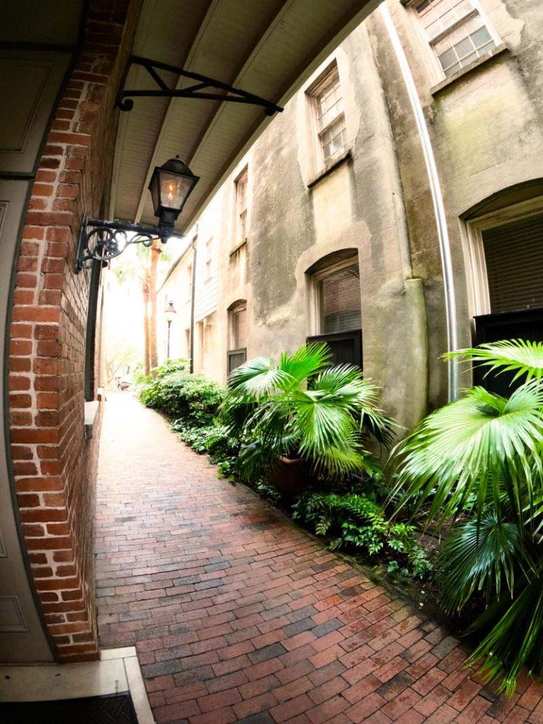 A side street walkway in Charleston, SC.