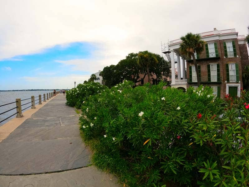 Sidewalk approaching the Battery Park area in downtown Charleston.