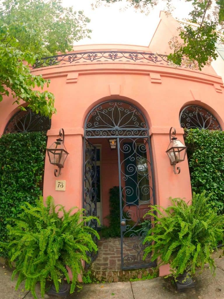Beautiful architecture with vibrantly colored walls in Charleston.
