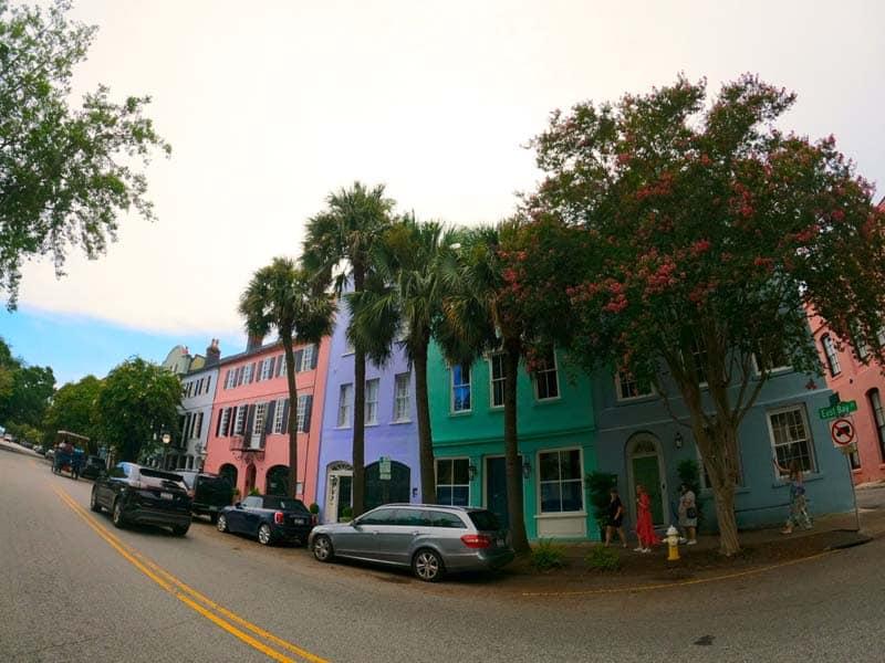 Rainbow row in Charleston, SC.