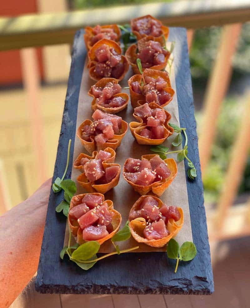 Raw tuna cups by Simple Provisions in Charleston, SC.